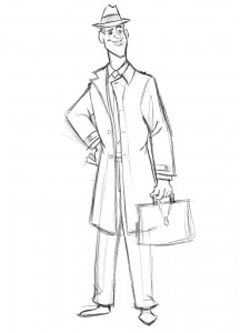 Line drawing of salesman